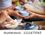 rich people give food to the...   Shutterstock . vector #1111675565