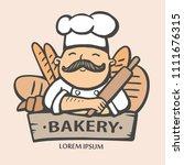 bakery logo. hand drawn vector... | Shutterstock .eps vector #1111676315