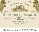 vector wine label with... | Shutterstock .eps vector #1111678205