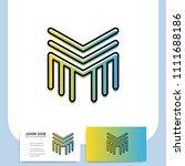 media letter m vector logo in a ... | Shutterstock .eps vector #1111688186