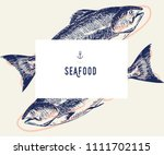 seafood banner set. hand drawn... | Shutterstock .eps vector #1111702115
