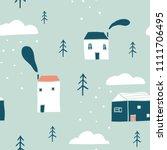 seamless winter landscape... | Shutterstock .eps vector #1111706495
