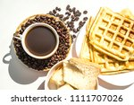 waffles and coffee for... | Shutterstock . vector #1111707026