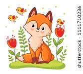 cute fox on a flower meadow.... | Shutterstock .eps vector #1111710236