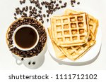 waffles and coffee for... | Shutterstock . vector #1111712102