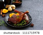 baked duck leg in chinese. | Shutterstock . vector #1111715978