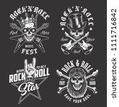 set of rock and roll emblems | Shutterstock .eps vector #1111716842