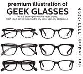 metal framed geek glasses... | Shutterstock .eps vector #111172058