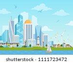 river side landscape with... | Shutterstock .eps vector #1111723472