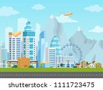 urban landscape with city and... | Shutterstock .eps vector #1111723475