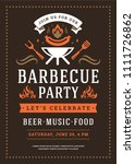 barbecue party vector flyer or... | Shutterstock .eps vector #1111726862