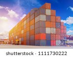 container box in shipping yard... | Shutterstock . vector #1111730222