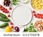 pasta in a plate with... | Shutterstock . vector #1111733378