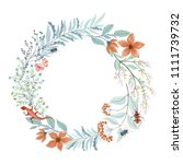 wreath with lizard  beetles ... | Shutterstock .eps vector #1111739732