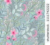 floral seamless pattern with... | Shutterstock .eps vector #1111742222