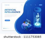 isometric robot with artificial ... | Shutterstock .eps vector #1111753085