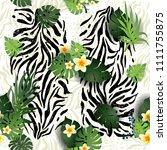 zebra and leaves | Shutterstock .eps vector #1111755875