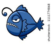 blue anglerfish vector in a bad ... | Shutterstock .eps vector #1111774868