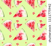 watermelon slices. squares.... | Shutterstock . vector #1111775942