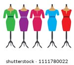 dresses on stands for dummies | Shutterstock .eps vector #1111780022