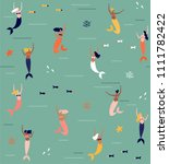 summer seamless pattern with... | Shutterstock .eps vector #1111782422