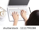 closeup.young woman typing text ... | Shutterstock . vector #1111790288