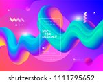 colorful 3d flow shapes. liquid ... | Shutterstock .eps vector #1111795652