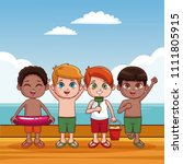 cute kids at beach cartoon | Shutterstock .eps vector #1111805915