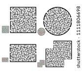 set of labyrinths  mazes...   Shutterstock .eps vector #1111806698