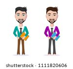 picture of cute student guy in... | Shutterstock .eps vector #1111820606