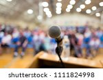 close up of microphone on a... | Shutterstock . vector #1111824998