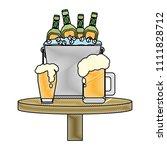 doodle beer bottles inside...   Shutterstock .eps vector #1111828712