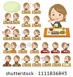 a set of women about meals.... | Shutterstock .eps vector #1111836845
