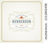 restaurant logo design vector... | Shutterstock .eps vector #1111842458