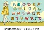 cute abc schoolgirl. vector...   Shutterstock .eps vector #111184445