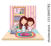 children with books organized... | Shutterstock .eps vector #1111845782