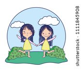 beauty girls playing together... | Shutterstock .eps vector #1111845908
