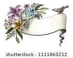 lily flowers hand drawing... | Shutterstock . vector #1111863212
