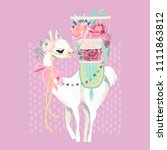 beautiful llama  alpaca in... | Shutterstock .eps vector #1111863812