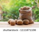 potatoes in bag and a wicker... | Shutterstock . vector #1111871108