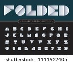 vector of paper folded alphabet ... | Shutterstock .eps vector #1111922405