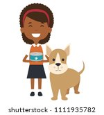 little girl with cute dog | Shutterstock .eps vector #1111935782