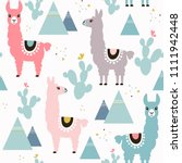 seamless pattern of llama ... | Shutterstock .eps vector #1111942448