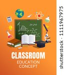 education classroom background. ... | Shutterstock .eps vector #1111967975
