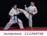 children are training karate... | Shutterstock . vector #1111969748