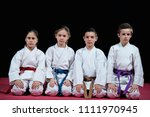 group kids karate martial arts | Shutterstock . vector #1111970945