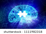 Stock photo human brain and puzzle for alzheimer s disease in the form of artificial intelligence for 1111982318