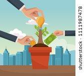 money plant in pot cartoon | Shutterstock .eps vector #1111987478
