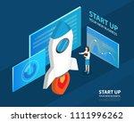 isometric businnes start up... | Shutterstock .eps vector #1111996262
