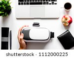 virtual reality glasses on mans ... | Shutterstock . vector #1112000225